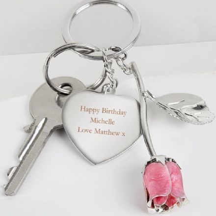 Personalised Keyring - Silver Plated Pink Rose